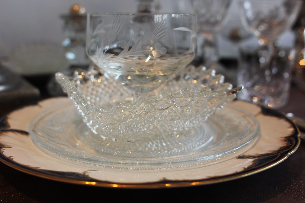 hire of vintage glass sundae dishes to a winter wonderland wedding in the Cotswolds