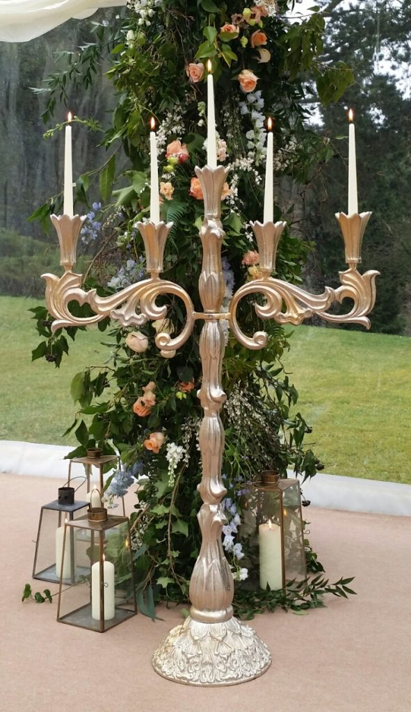 tall entrance candelabra silver gold hire for wedding ceremony aisle side