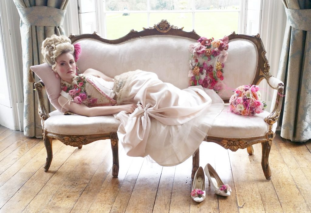 hire of vintage shabby chic furniture &  the Rococo sofa for weddings