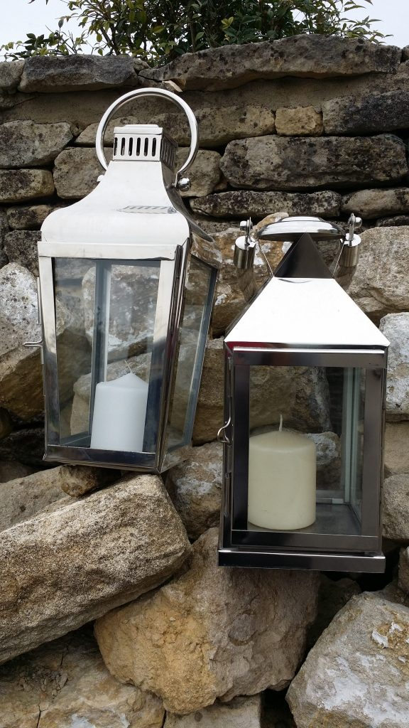 hire of large silver lanterns for weddings