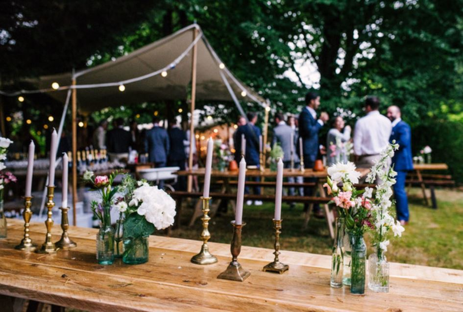 hire brass or gold candlesticks & aqua green mixed bottles for diy weddings