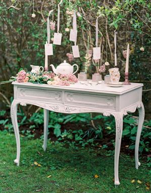hire vintage furniture, a shabby chic dressing table for wedding cake stand