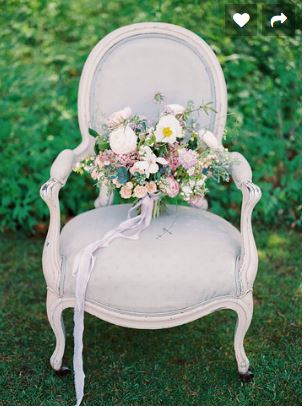 hire shabby chic vintage chair for a wedding at Barnsley House in the Cotswolds