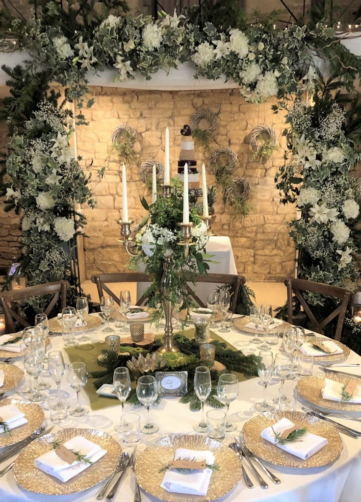 Hire gold candelabra & gold charger plates for a woodland inspired wedding at the Gt Tythe Barn