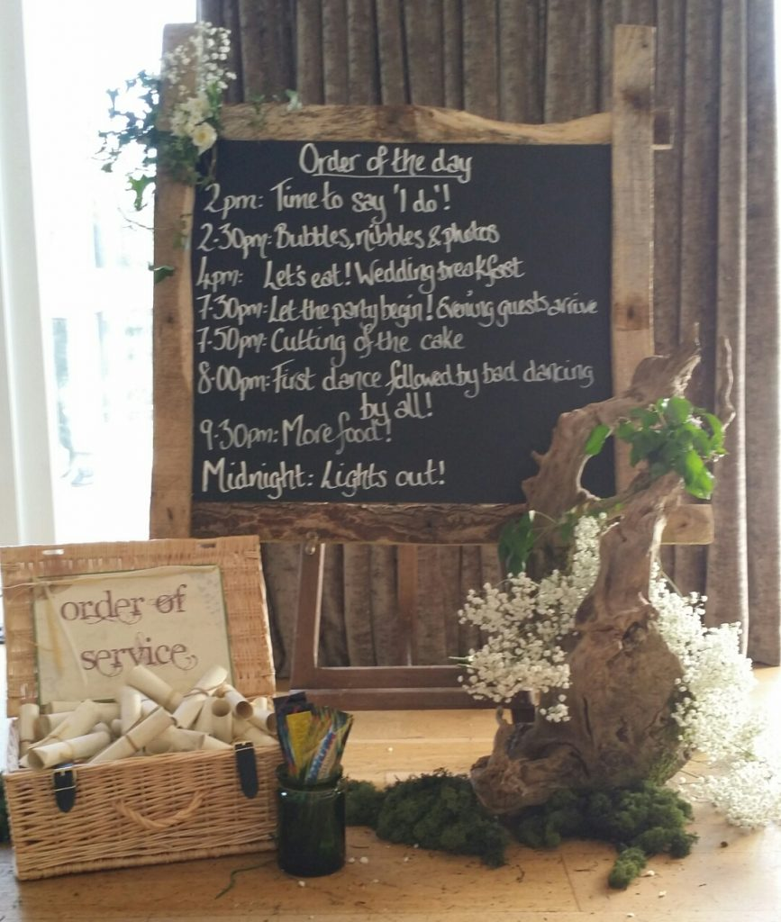 rustic woodland wedding table plan- rustic order of the day to hire ,as seen at Hyde Barn wedding venue