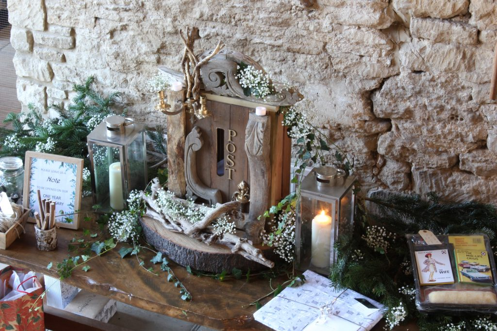 woodland wedding inspired post box for hire, seen here in the Great Tythe Barn ,Tetbury