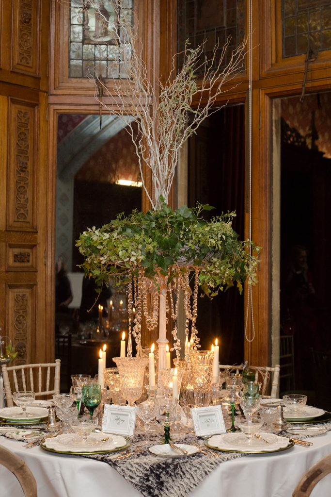 inspired by Narnia full table setting to hire for candlelit winter wedding