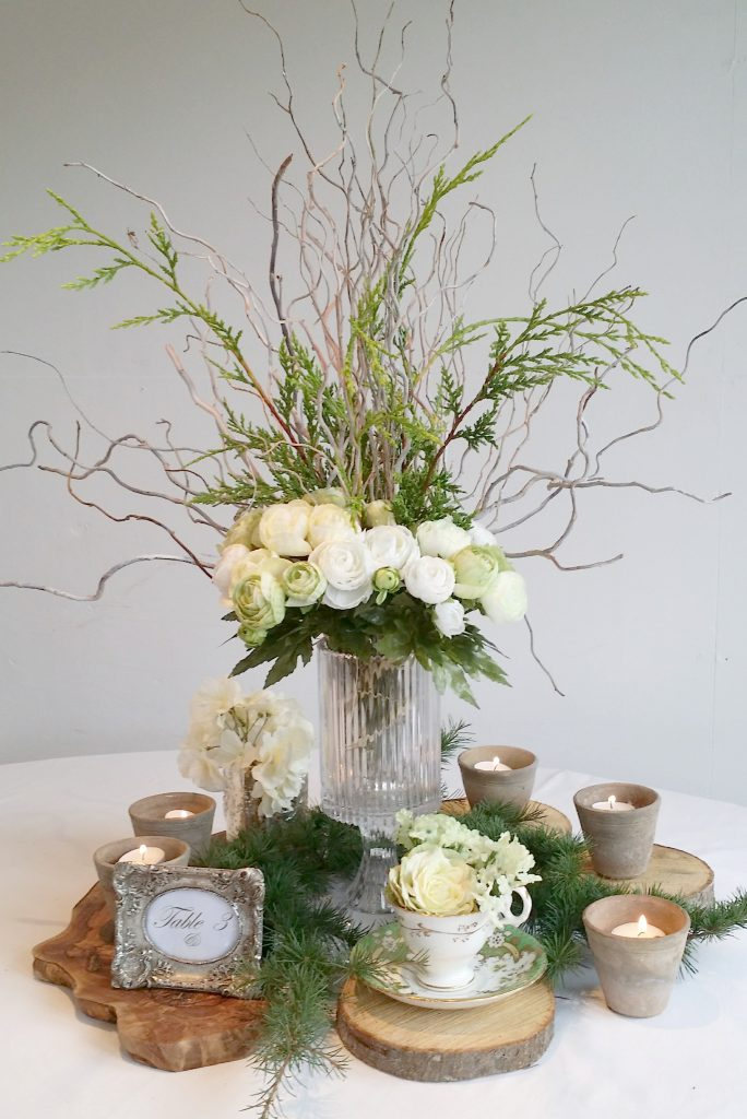 woodland wedding table centre idea from props for hire
