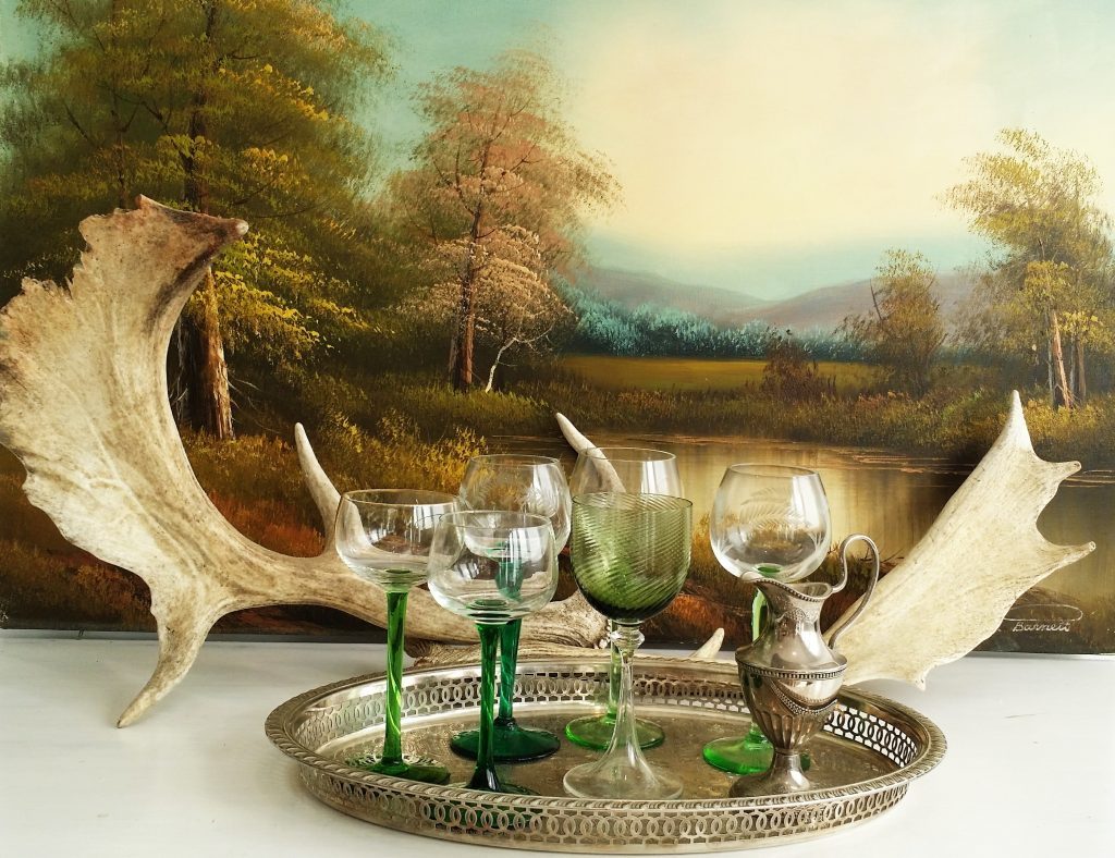 Hire of coloured glasses, silver serving trays, antlers for special occasion events