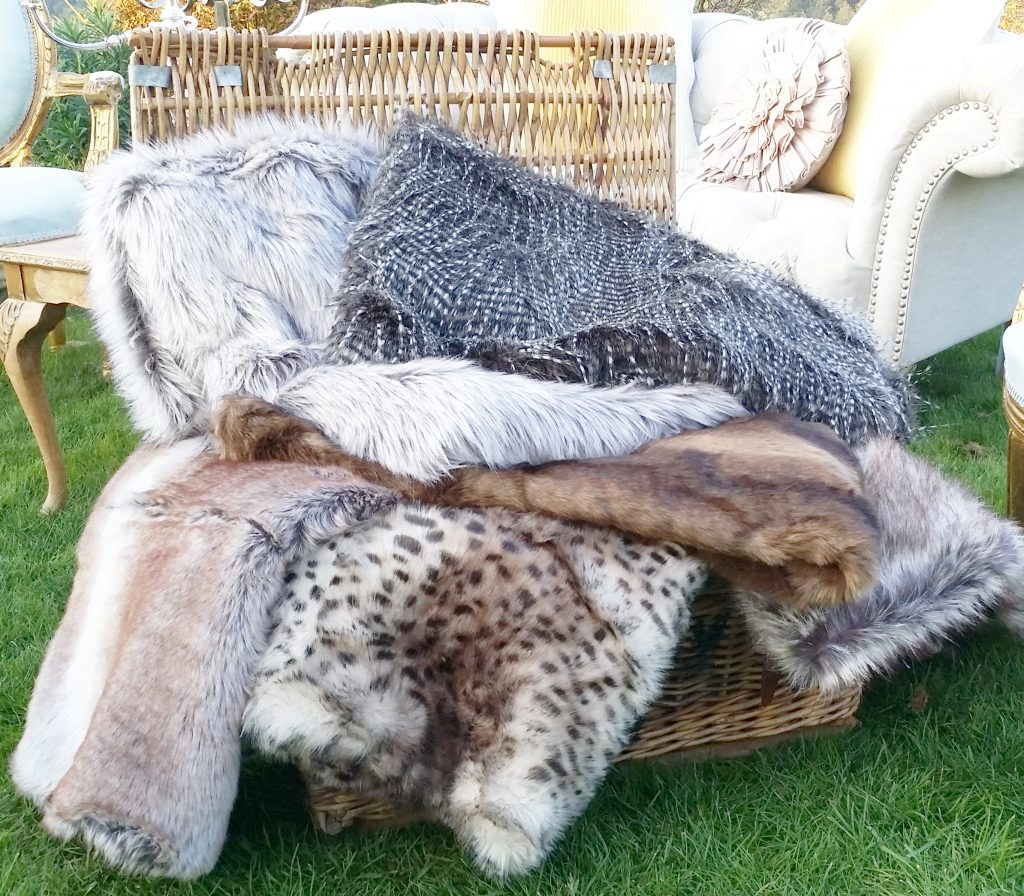 Hire luxury fake fur throws, blankets with vintage shabby chic furniture