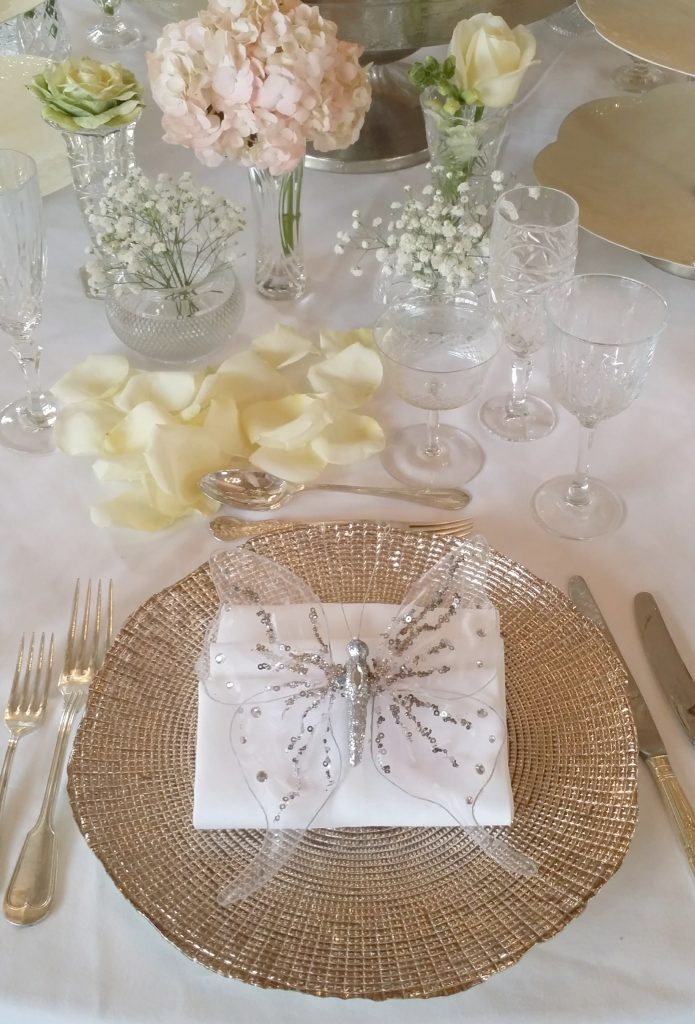 gold charger, vintage glasses & vintage vases to hire for wedding tables