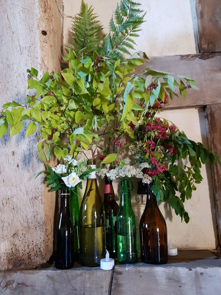 collect bottles as vases for woodland wedding or hire