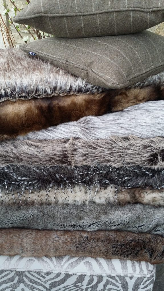 Hire luxury fake fur throws & cushions with vintage shabby chic furniture
