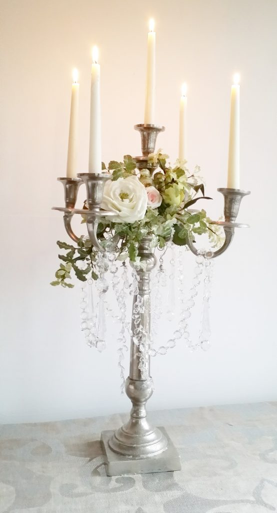 tall rustic silver candelabra with crystal and decor to hire