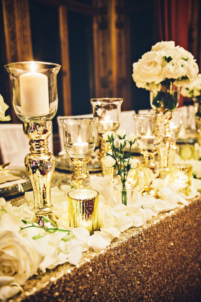 Hire mercury gold goblet style vase & candleholders, Manor by the lake wedding venue