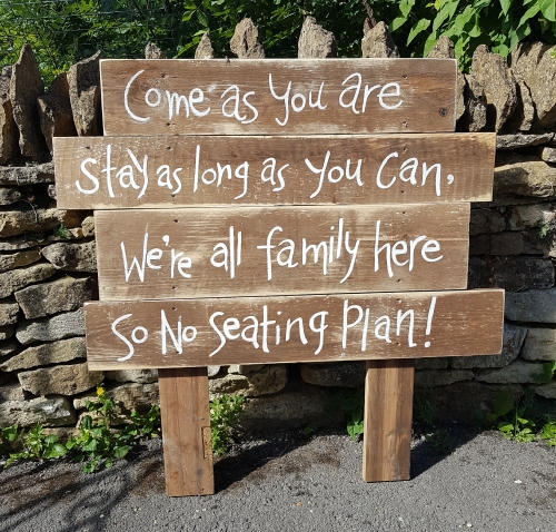 """no seating plan"" sign to hire for weddings"