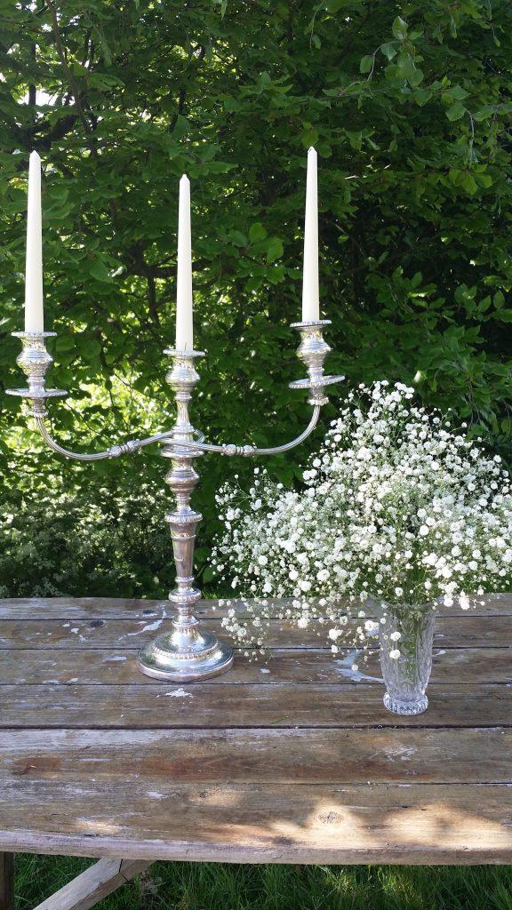 vintage candelabra & vintage vase hire