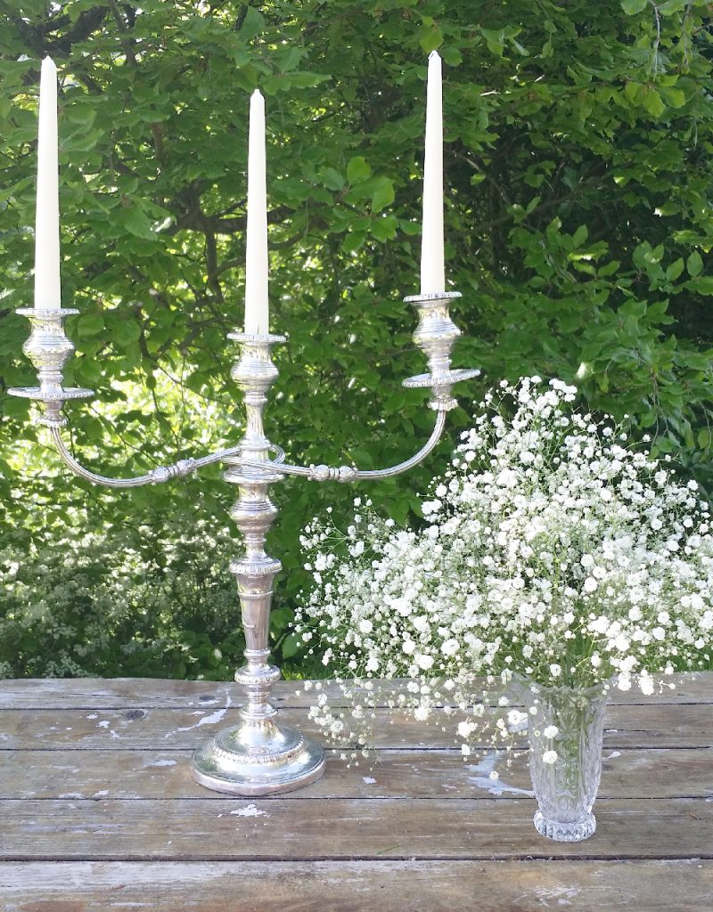 vintage candelabra and vintage glass vases to hire