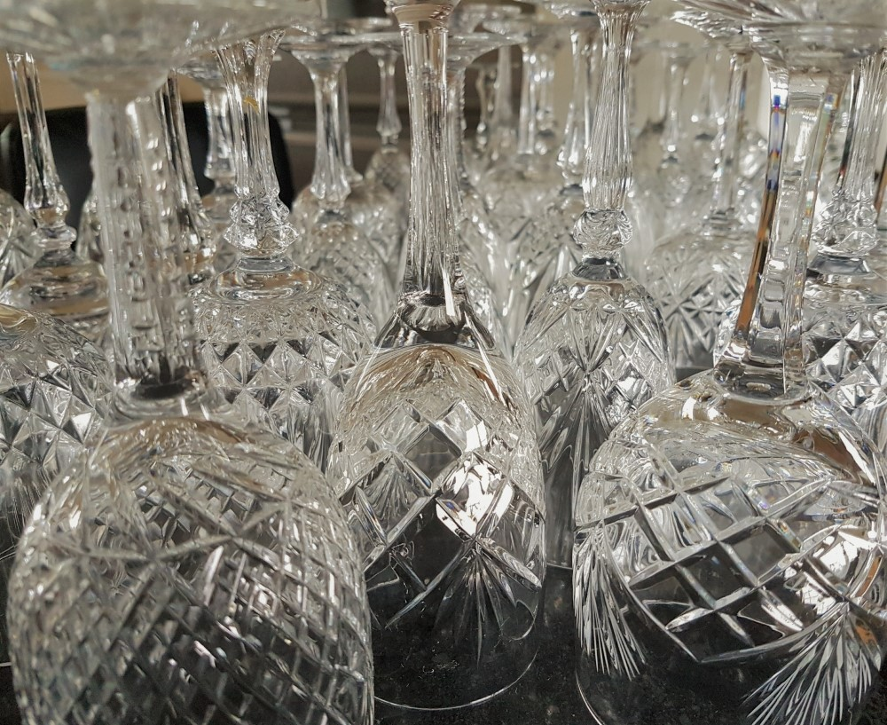 vintage wine glasses to hire for Cotswold weddings & events