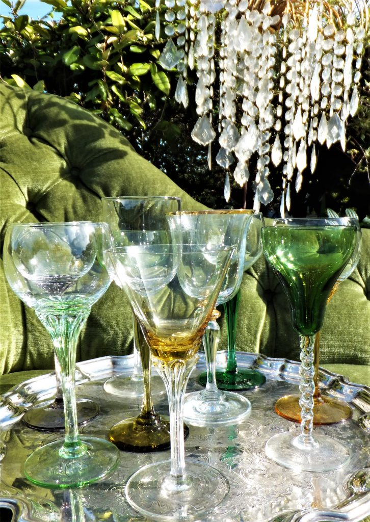 vintage green and ochre coloured glasses for hire at weddings and events