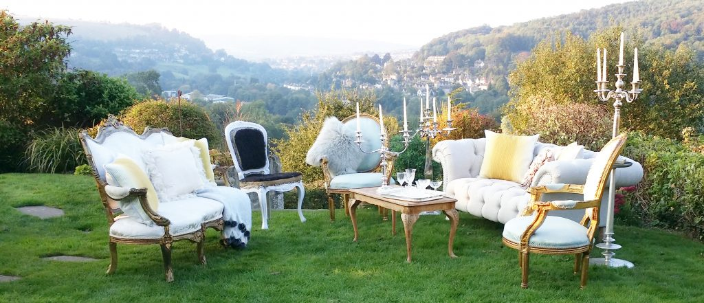Hire vintage furniture in ivory grey and gold for weddings & special events