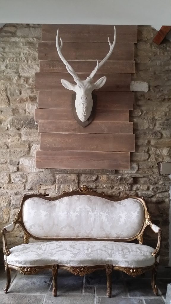 HIre vintage furniture in the Cotswolds & white stag head