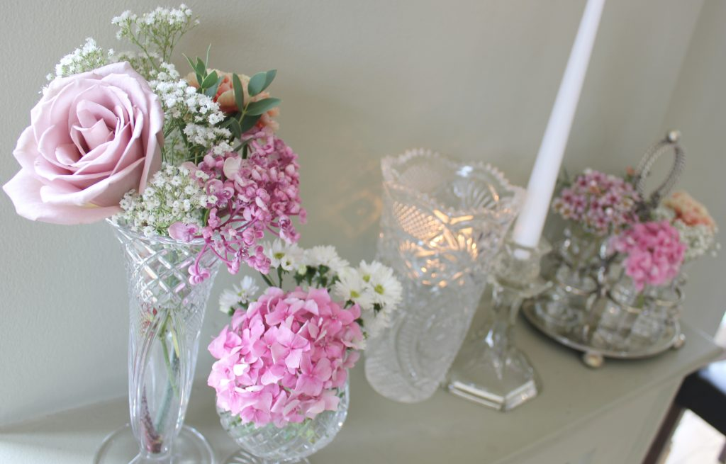 vintage vase & glass candlesticks to hire for weddings in the Cotswolds