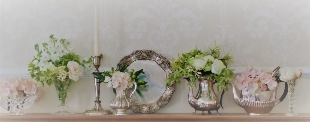 hire vintage candlesticks, vases, silver wares to decorate mantle-pieces