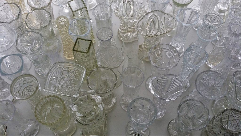 vintage glass vases for hire for DIY weddings on a budget