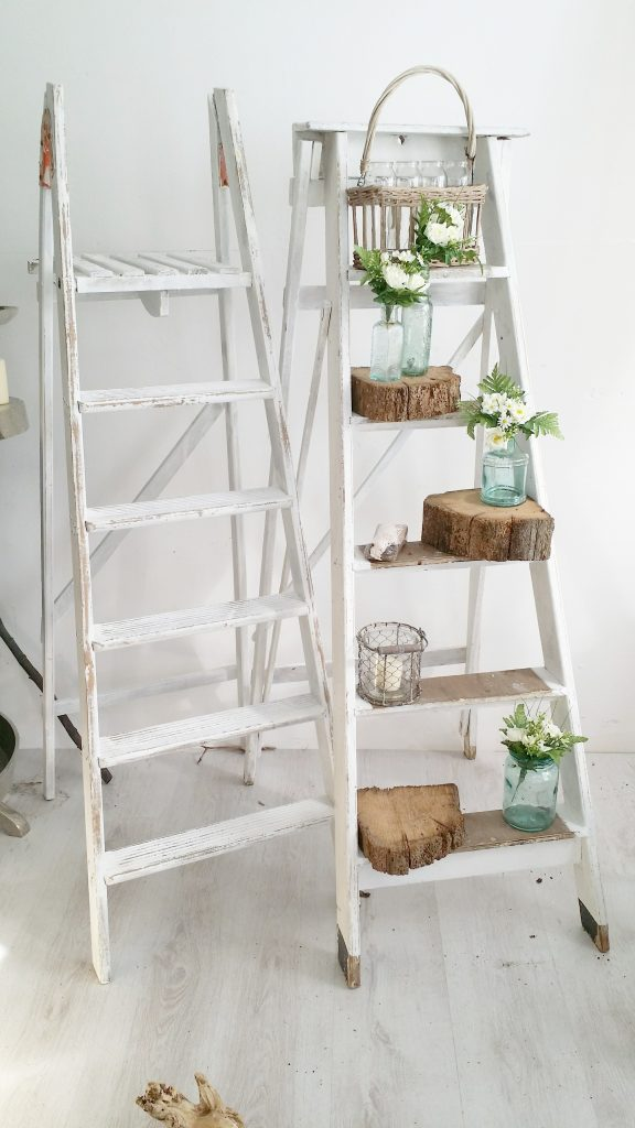 Hire rustic or vintage white step ladders for weddings