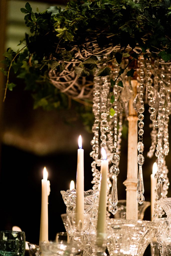 candlelight & crstal hire for winter wedding at Manor by the Lake