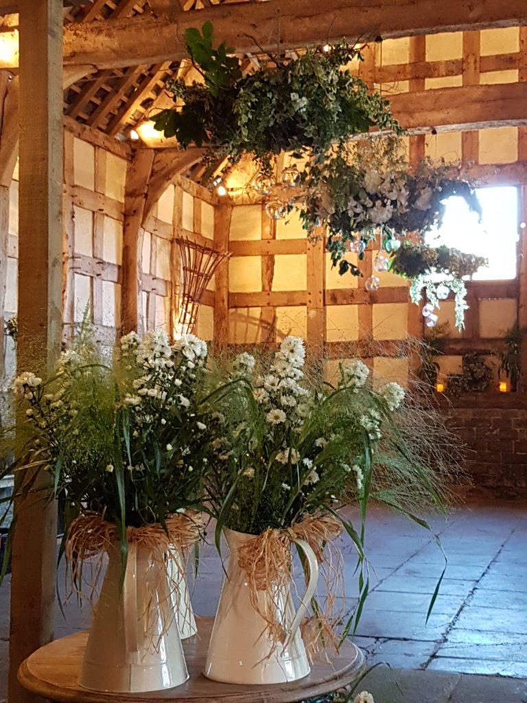 woodland wedding hanging wreath to hire here at Frampton Barn wedding venue