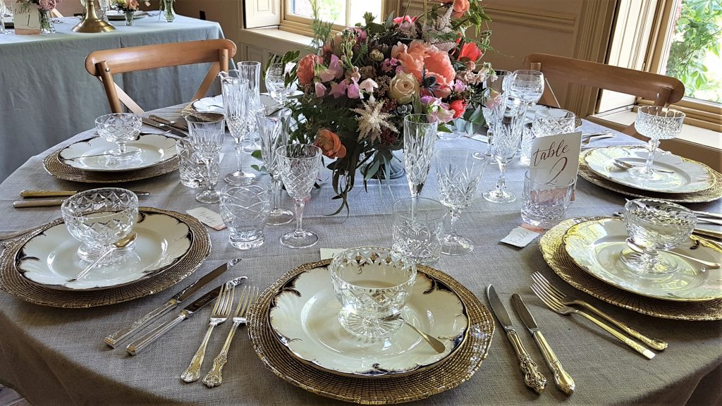 hire of luxury vintage cutlery, glasses, sundae dishes, & gold charger plates
